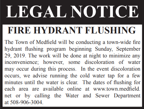 Fall 2019 Hydrant Flushing Legal Notice