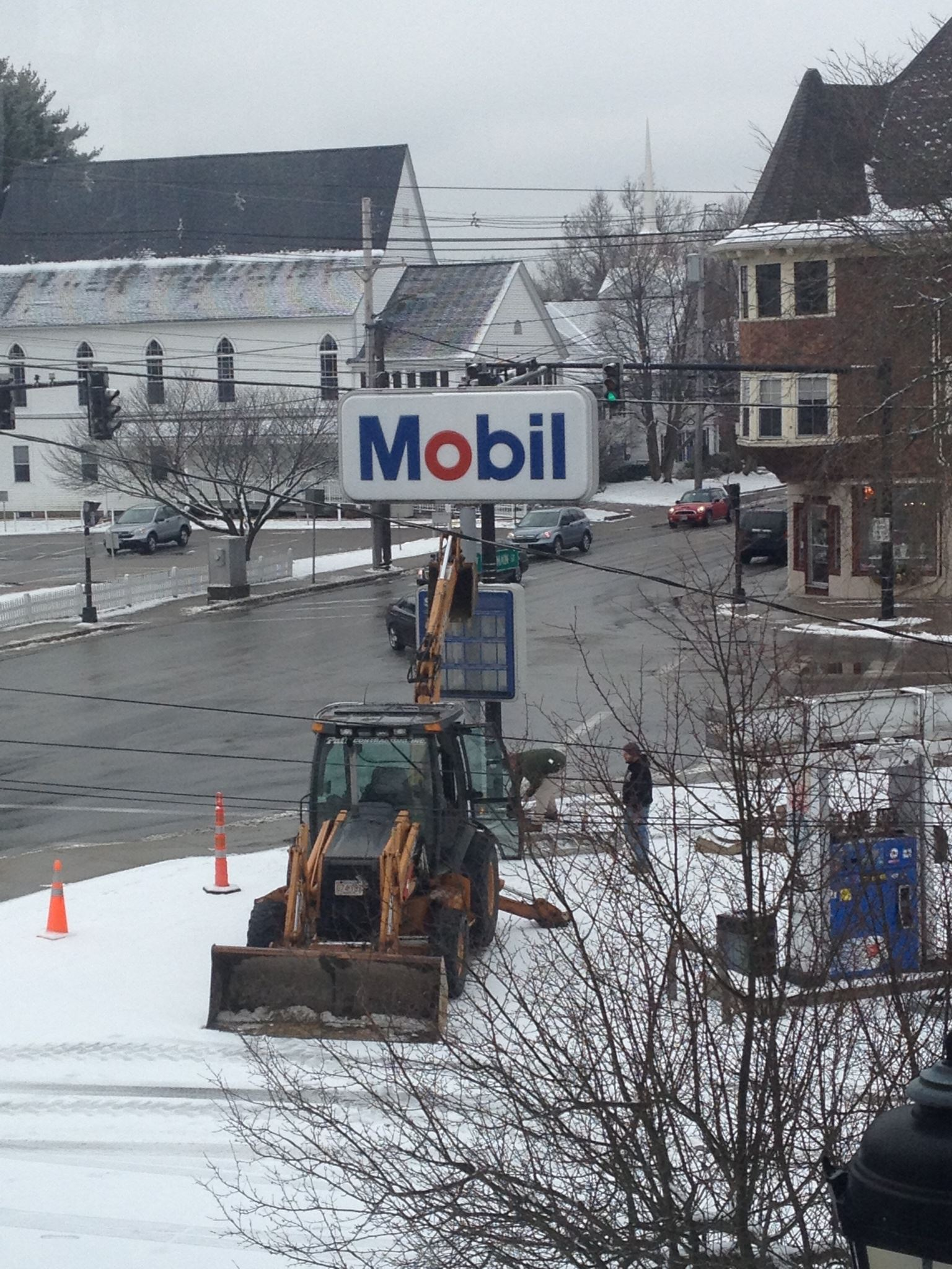 Removal of old Mobil sign - January  2013