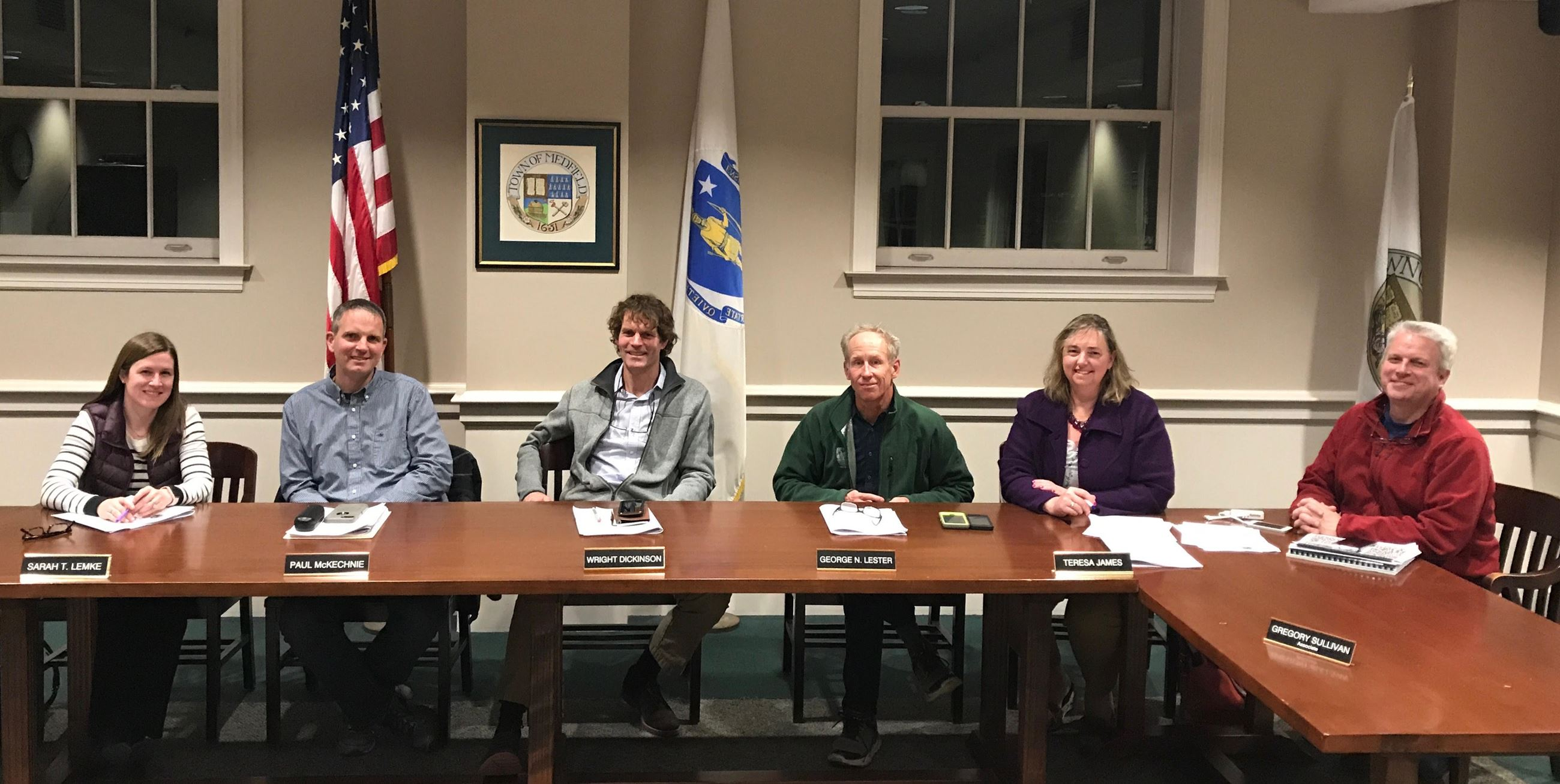 This is an image of the Planning Board sitting at a table taken on May 1, 2017. Members shown are: L